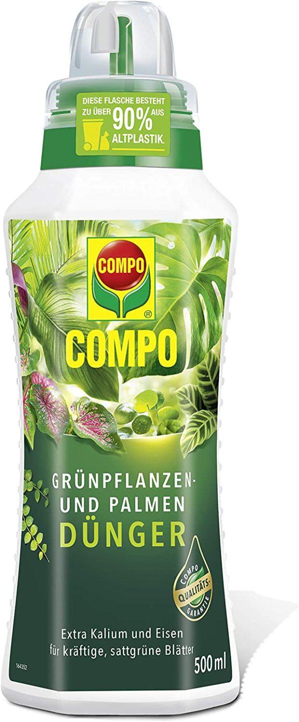 Für rundum vitale und kräftig grüne Pflanzen: Mineralischer Nährstoffdünger mit extra Kalium und Eisen für alle Grünpflanzen und Palmen im Zimmer, auf Balkon und Terrasse, Praktische Dosierhilfe