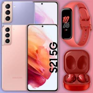 Eff. GRATIS!📱 Galaxy S21 5G mit 10GB Telekom Allnet für 29,99€ mtl. + Galaxy Fit2 + Buds Live