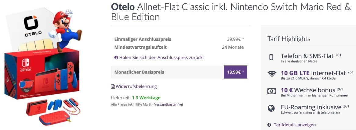Otelo Allnet Flat Classic inkl. Nintendo Switch Mario Red  Blue Edition
