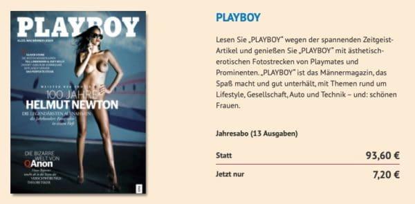 Playboy 13 Ausgaben zum Preis von einer Jahresabo