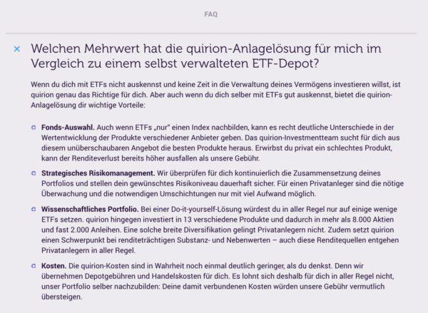 Quirion Mehrwert vgl mit selbst verwaltetem ETF Depot
