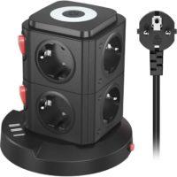 UUOGOO 8Fach Steckdosenleiste Mehrfachsteckdose UEberspannungsschutz mit 3 USB PortsSteckdosenturm mit Schalter deal