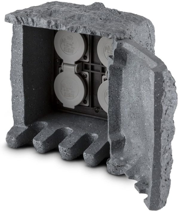 Waldbeck Power Rock   Gartensteckdose Aussensteckdose 4 fach Schutzkontakt 3680 Watt