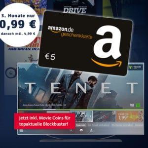 [Endet] 4€ Gewinn! 📺 TENET für 0,99€ schauen + 5€ Amazon.de Gutschein + 3 Monate freenet video