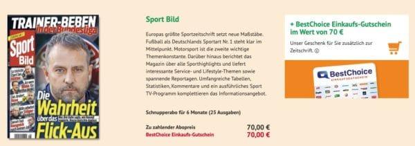 6 Monate Sport Bild für 70€ + 70€ BestChoice-Gutschein