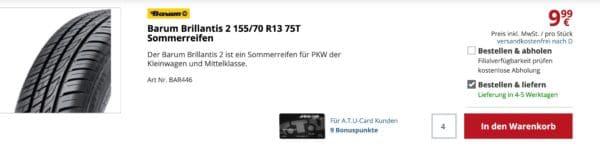 ATU Reifen Continental Lieferkosten