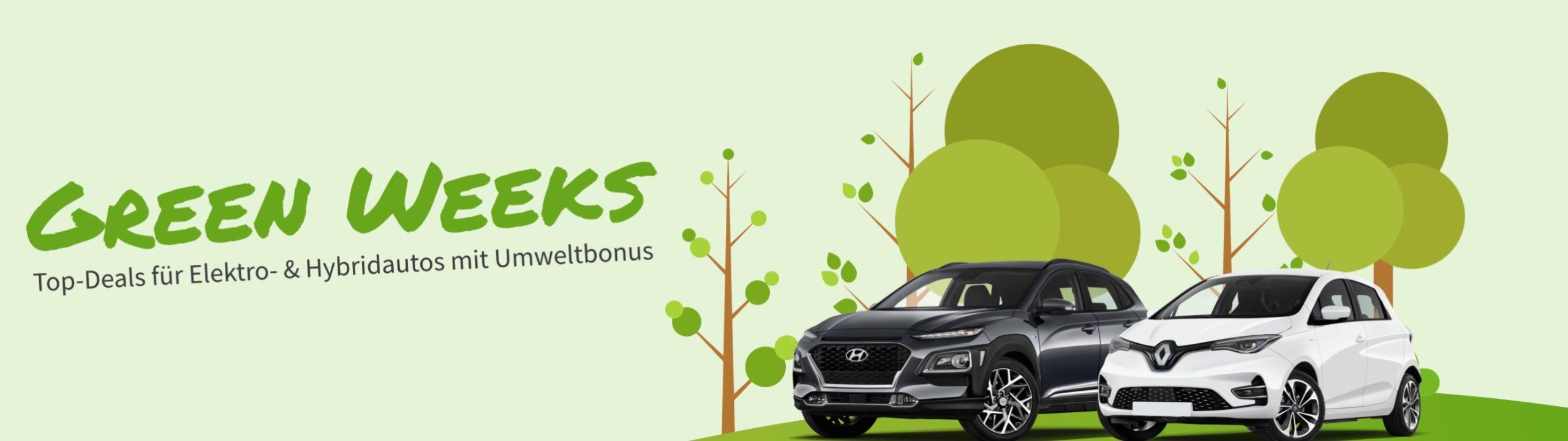 Entdecken Sie im Rahmen der LeasingMarkt.de Green Weeks zahlreiche Top-Angebote für beliebte Elektro- und Hybridmodelle aller bekannten Marken. Nutzen Sie die Chance und sichern Sie sich dank der BAFA-Förderung Leasingfahrzeuge mit E-Antrieb zu absoluten Sonderkonditionen.
