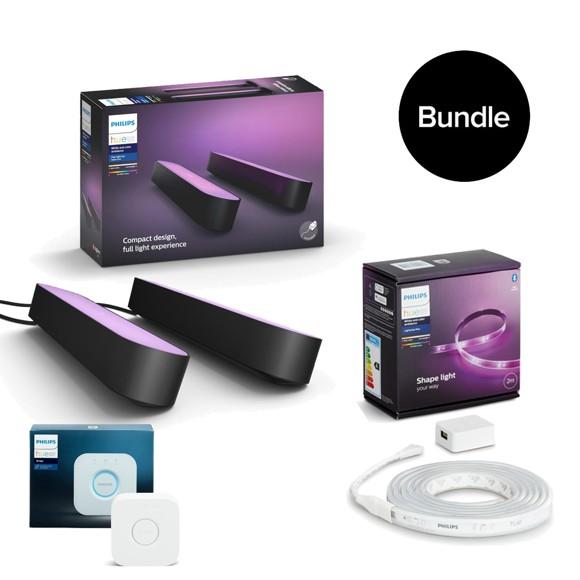 Philips Hue   Play Light Bar 2 Pack  Lightstrip Plus Starter Kit 2 meter  Bridge 2.1   Bundle