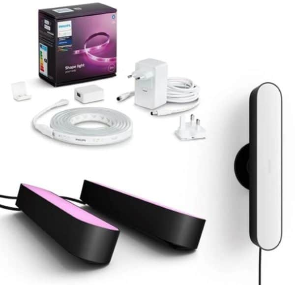 Philips Hue Play Lightbar 3er-Pack + Hue Lightstrip Plus Basis-Set V4 2 Meter
