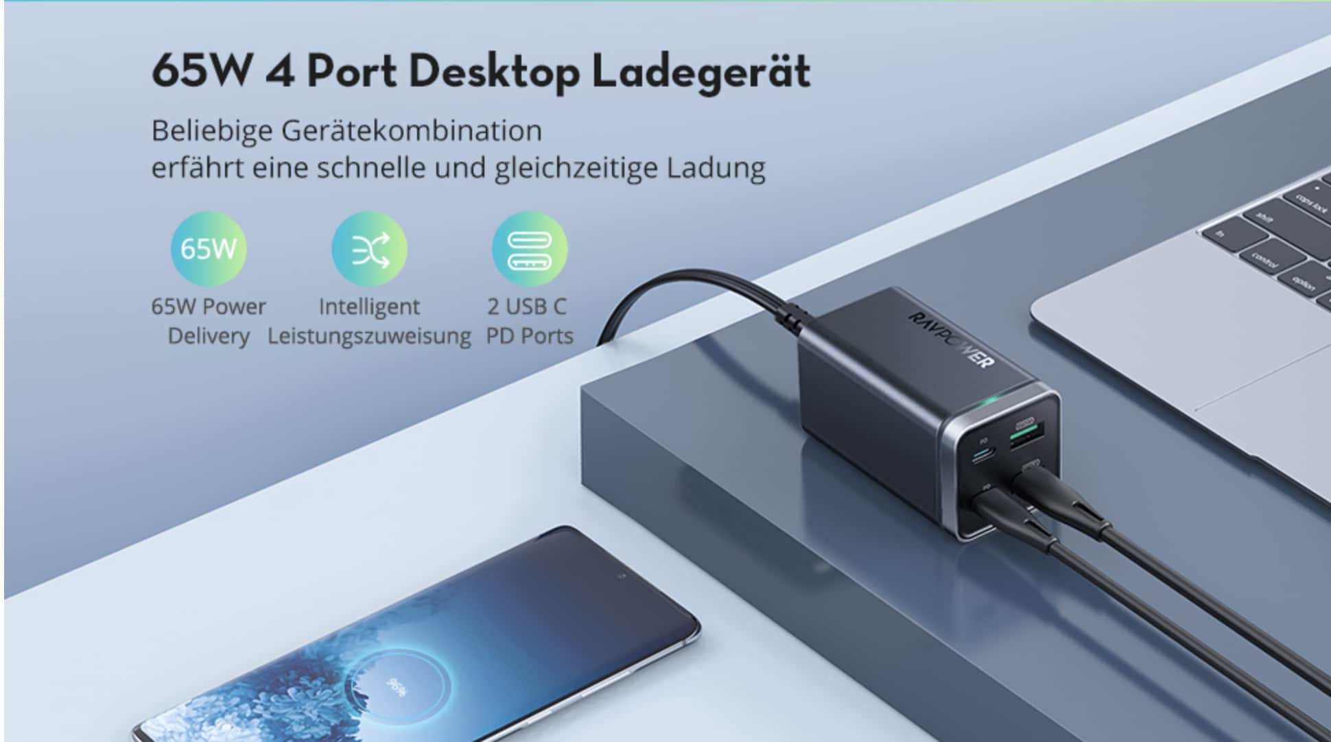 RAVPower 65W USB C Ladegeraet 4 Port