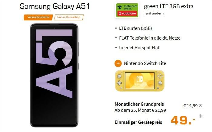 Samsung Galaxy A51  Nintendo Switch Lite zum md green LTE 3 GB im Vodafone Netz bei Saturn