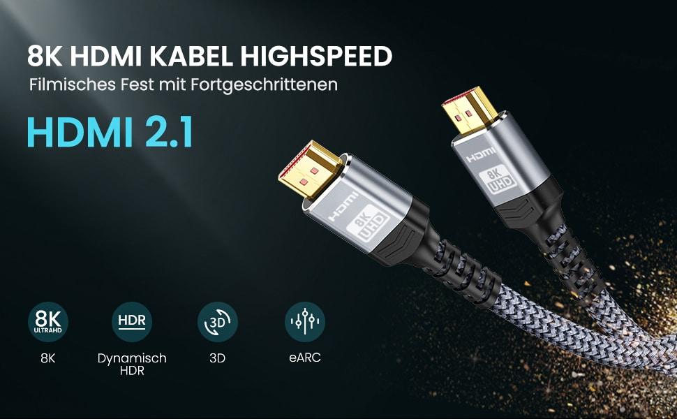 Snowkids 8K HDMI Kabel Neueste Version HDMI 2.1