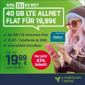 [Letzte Chance!] 40GB o2 Allnet für 19,99€ mtl. (225 Mbit/s, mtl. kündbar)