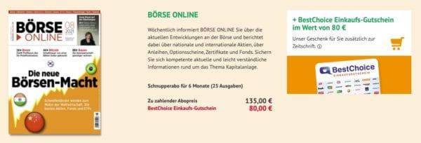 BÖRSE ONLINE im 6-Monatsabo für 135€ + 80€ BestChoice Gutschein