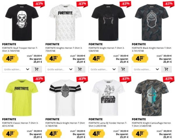 Fortnite Herren T-Shirts 4,99€