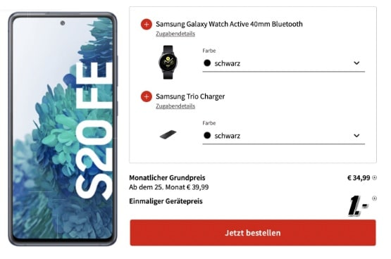 Samsung Galaxy S20 FE 256GB  Watch Active  Trio ChargerBuds Live im o2 Free L mit 60GB LTE 2