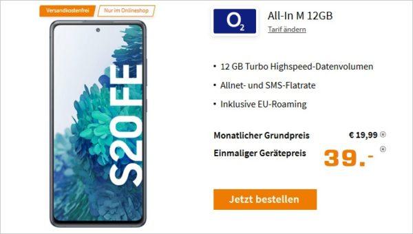 Samsung Galaxy S20 FE mit o2 Blue All In M 12 GB bei Saturn