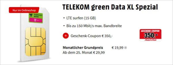 Telekom green Data XL mit 350 Euro Coupon bei MediaMarkt