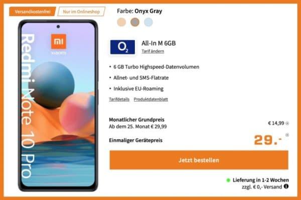 Xiaomi Redmi Note 10 Pro  o2 Allnet Flat mit 6GB LTE