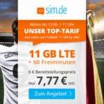 🎉 Flexible 11GB LTE Flat + 60 Min. für 7,77€ mtl.