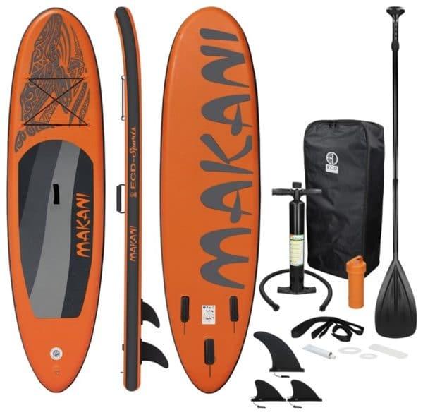 Aufblasbares Stand Up Paddle Board Makani 320 x 82 x 15 cm Orange inkl. Pumpe und Tragetasche aus PVC und EVA  ECD Germany 2021 05 10