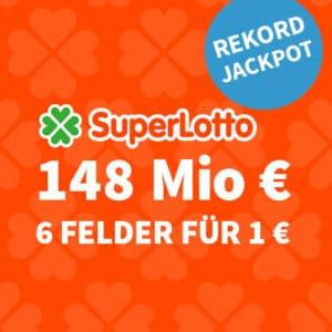 148 Mio. Rekord-Jackpot 🏆 nur 1€/Tipp (BK) 🍀 Gratis-Tipp für NK 💰 Jeder 3. Tipp gewinnt!