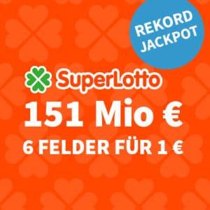 151 Mio. Rekord-Jackpot 🏆 nur 1€/Tipp (BK) 🍀 Gratis-Tipp für NK 💰 Jeder 3. Tipp gewinnt!