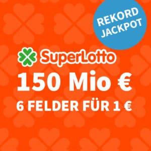 [Ziehung] 150 Mio. Rekord-Jackpot 🏆 nur 1€/Tipp (BK) 🍀 Gratis-Tipp für NK 💰 Jeder 3. Tipp gewinnt!