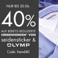 Galeria 40% Gutschein auf Olymp Seidensticker Sale Hemden