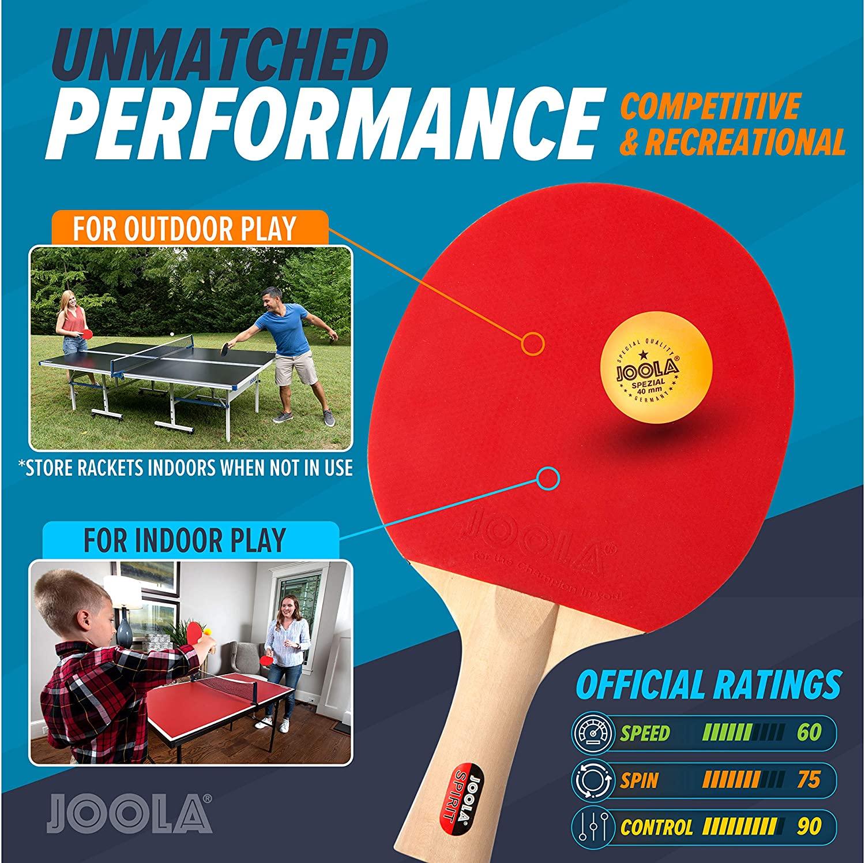JOOLA Tischtennis Set Family  4 Tischtennisschlaeger  10 Tischtennisbaelle