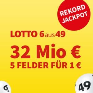 [Verlängert!] 32 Mio. im Lotto-Jackpot 💵🍀 5 Felder für 1€ oder Gratis-Tipp (für NK)