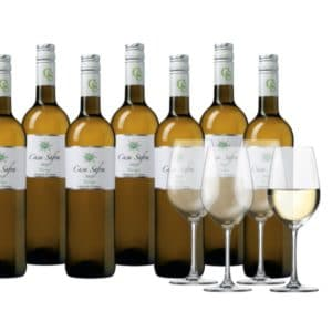 Weinpaket Casa Safra Verdejo, 8 Flaschen + 4 Gläser
