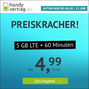 [TOP] 🎉 Mtl. kündbare 5GB LTE Flat + 60 Frei-Minuten für 4,99€ mtl.