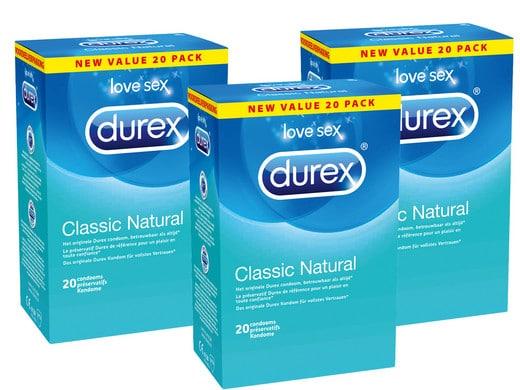 60 Durex Classic Natural Kondome