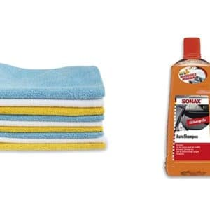 Amazon Basics  Mikrofaser Reinigungstuecher 12 Stueck plus Shampoo