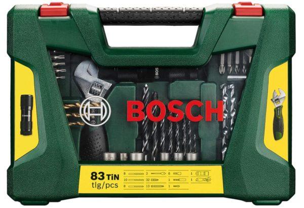 Bosch 83tlg. V-Line Titanium-Bohrer- und Bit-Set mit LED-Taschenlampe & Rollgabelschlüssel