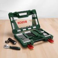 Bosch 83tlg. V-Line Titanium-Bohrer- und Bit-Set mit LED-Taschenlampe und Rollgabelschlüssel
