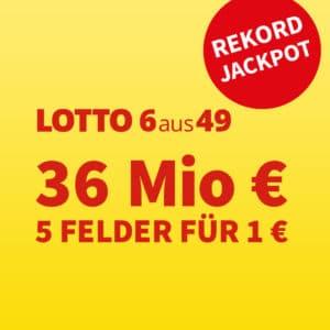 Exklusiv 🍀 36 Mio. Rekord-Jackpot 💵 5 Felder für 1€ oder Gratis-Tipp für Neukunden