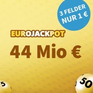 [Tippen bis 19 Uhr] 🏆 44 Mio. € Jackpot 💵🍀 3 Felder für 1€, GRATIS-Tipp & mehr (für Neukunden)