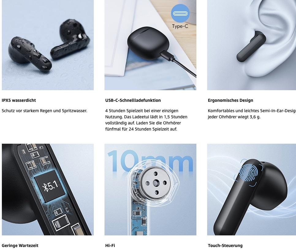 Bluetooth Kopfhoerer Kopfhoerer Kabellos Echte HiFi Stereo Semi in Ear Ohrhoerer mit Tragbarem USB C Schnellladegehaeuse Eingebau 2021 08 30