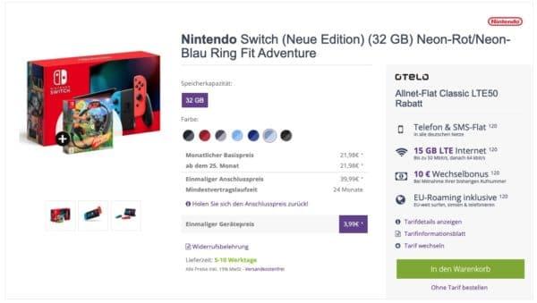 Jetzt mit 50 Mbit/s Nintendo Switch + Ring Fit Adventure mit Otelo (Vodafone) Allnet inkl. 15GB LTE