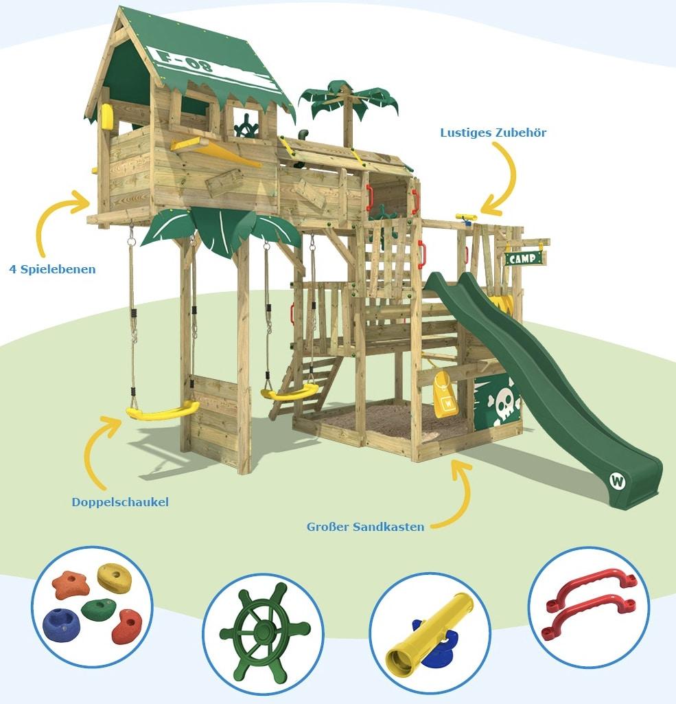 WICKEY Spielturm Klettergeruest Smart Castaway mit Schaukel  gruener Rutsche  eBay 2021 08 19