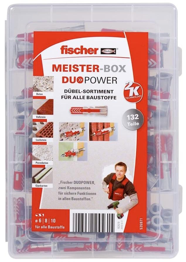 fischer MEISTER BOX DUOPOWER Duebelbox mit 132 Duebeln 60 Stk. 6 x 30 60 Stk. 8 x 40 12 Stk. 10 x 50 Universalduebel prakti 2021 08 25