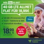 [Letzte Chance]📲 40GB o2 Allnet für 18,99€ mtl. (225 Mbit/s, mtl. kündbar)