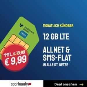 [TOP] Mtl. kündbar 💥 12GB LTE o2 Allnet-Flat für 9,99€ mtl.