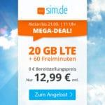 🎉 Flexible 20GB LTE Flat + 60 Frei-Minuten für 12,99€ mtl.