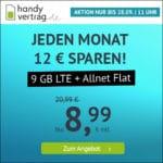 TOP! 🎉 o2 9GB LTE + Allnet-Flat für 8,99€ (mtl. kündbar!) // 4GB für 5,99€