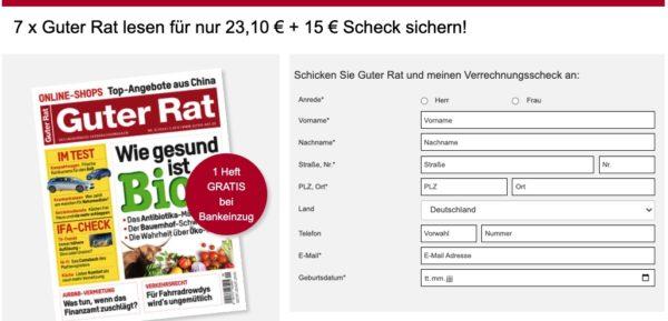 7 x Guter Rat lesen für nur 23,10 € + 15 € Scheck sichern