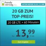 🎉 o2 20GB LTE + 60 Freiminuten für 13,99€ (mtl. kündbar!) // 6GB LTE für 6,99€