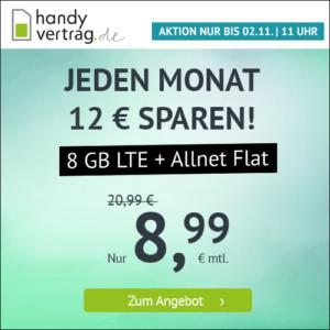 🎉 o2 11GB LTE Allnet-Flat für 11,11€ (mtl. kündbar!) // 8GB für 8,99€
